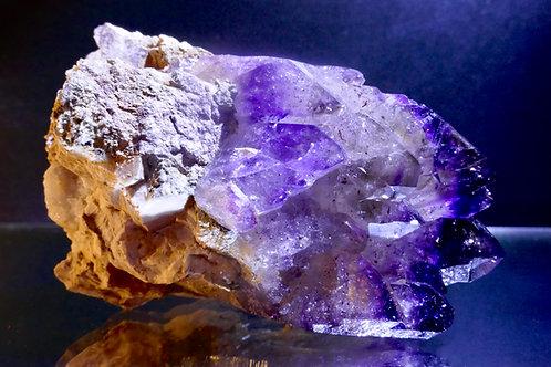 Quartz - Amethyst cluster with Stilbite