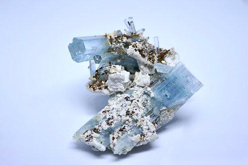 Beryl var. Aquamarine, Feldspar, and Siderite