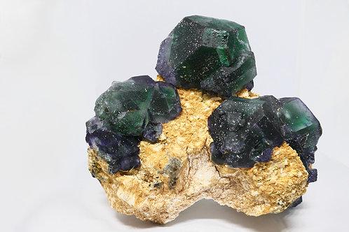 Fluorite and Muscovite on Feldspar Matrix