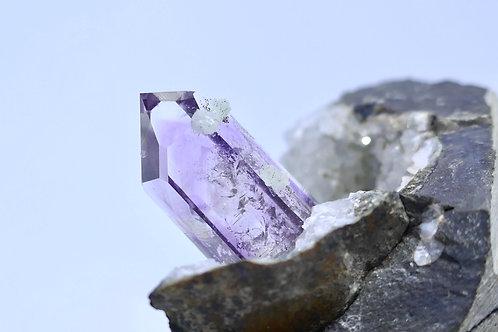 Amethyst Quartz with Prehnite on Calcite