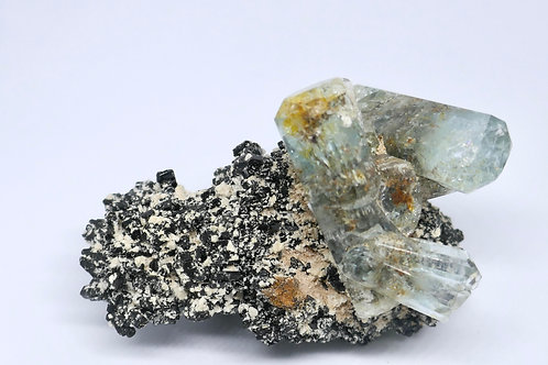 Beryl var. Aquamarine on Schorl Tourmaline Matrix