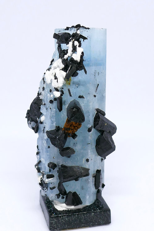 Healed Beryl var. Aquamarine Crystal w/Schorl and Feldspar