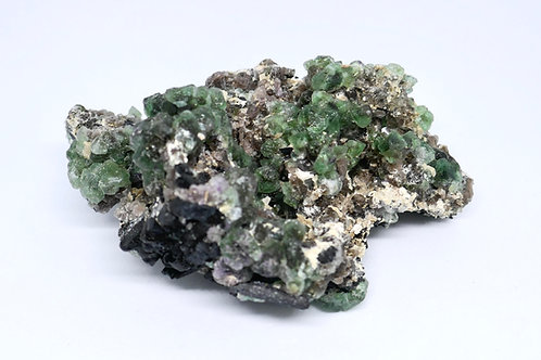 Fluorite and Schorl with Feldspar and Muscovite