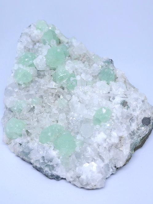 Prehnite on Calcite, with Quartz