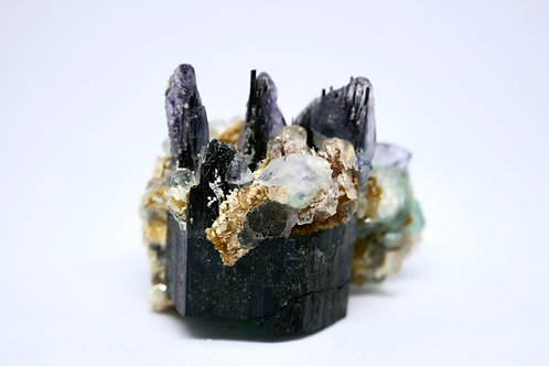 Fluorite, Goshenite, and Muscovite on Schorl