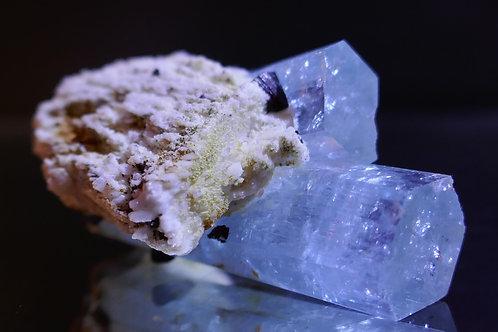 Beryl - Aquamarine Crystal with Schorl and Feldspar