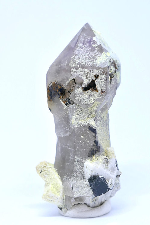 Quartz Scepter with Siderite, Schorl, Feldspar, and Halite