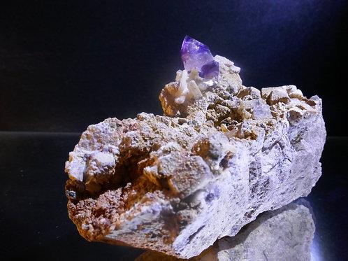 Quartz - Amethyst with Stilbite on Matrix