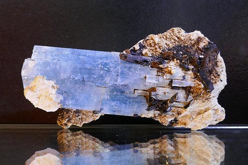 Beryl - Aquamarine with Feldspar, Schorl, and Siderite
