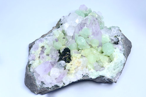 Amethyst, Prehnite, Calcite, and Epidote