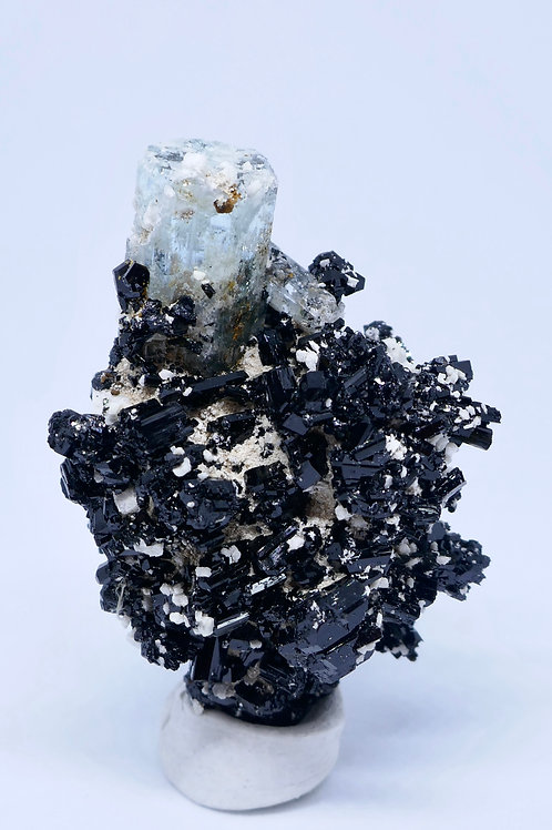 Aquamarine on Schorl with Feldspar