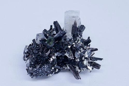 Goshenite with Fluorite, on Schorl