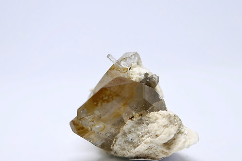 Smoky Quartz and Aquamarine on Feldspar