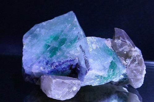 Fluorite with Quartz - Smoky
