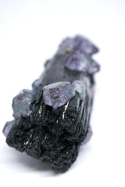 Schorl with Spinel Fluorite