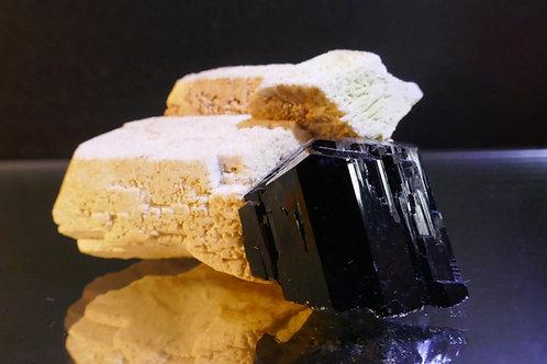 Schorl - Black Tourmaline on Feldspar