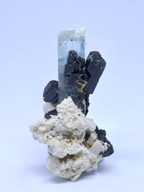 Aquamarine Crystal on Schorl and Feldspar