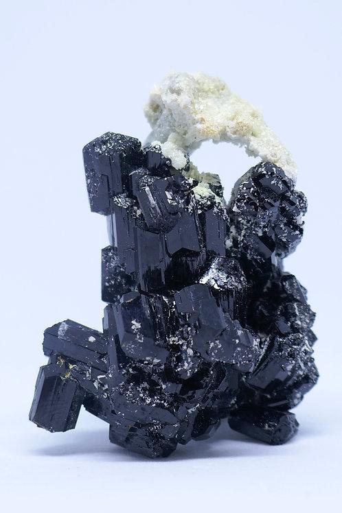 Aquamarine Crystal and Halite on Schorl