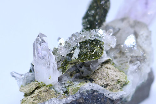 Amethyst Quartz with Epidote on Quartz