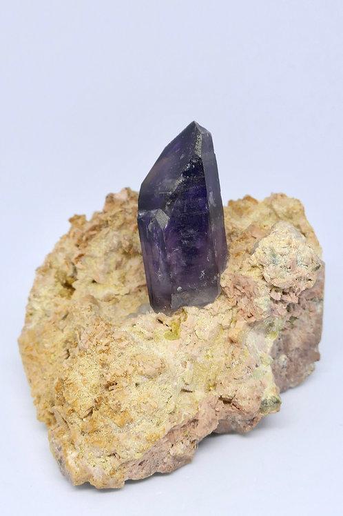 Amethyst Crystal on Feldspar Matrix