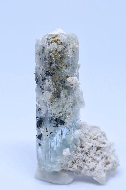 Aquamarine Crystal with Feldspar and Schorl