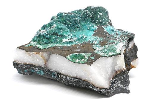 Quartz on Malachite and Chalcedony