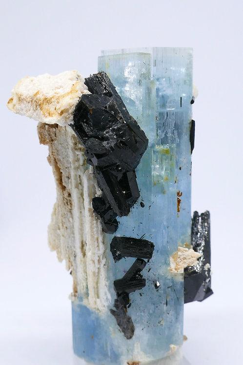 Beryl var. Aquamarine Crystal w/Schorl and Feldspar
