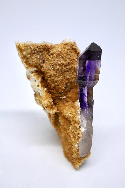 Quartz var. Amethyst Scepter on Calcite