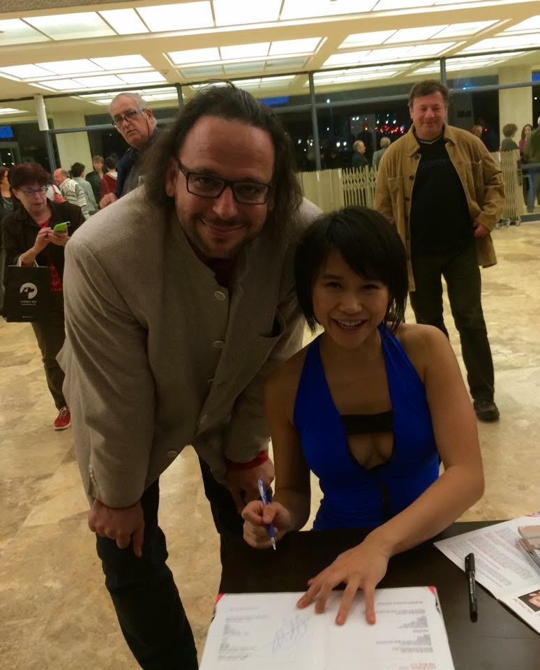With pianist Yuja Wang (王羽佳 Wáng Yǔjiā), Tel Aviv, 24 January 2015
