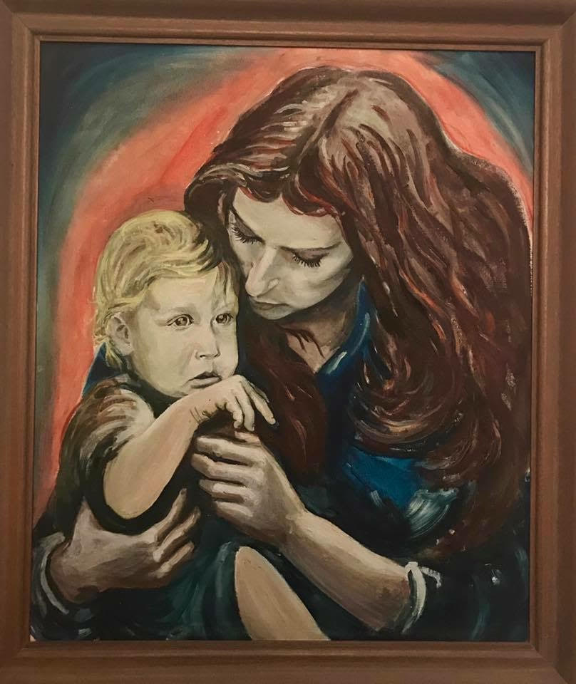 Painting of Ghil'ad Zuckermann as a baby with his mother Eti Zuckermann, painted by Ghil'ad's late f
