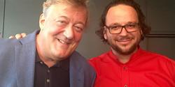 Professor Ghil'ad Zuckermann with Stephen Fry in Adelaide, Australia, 2015