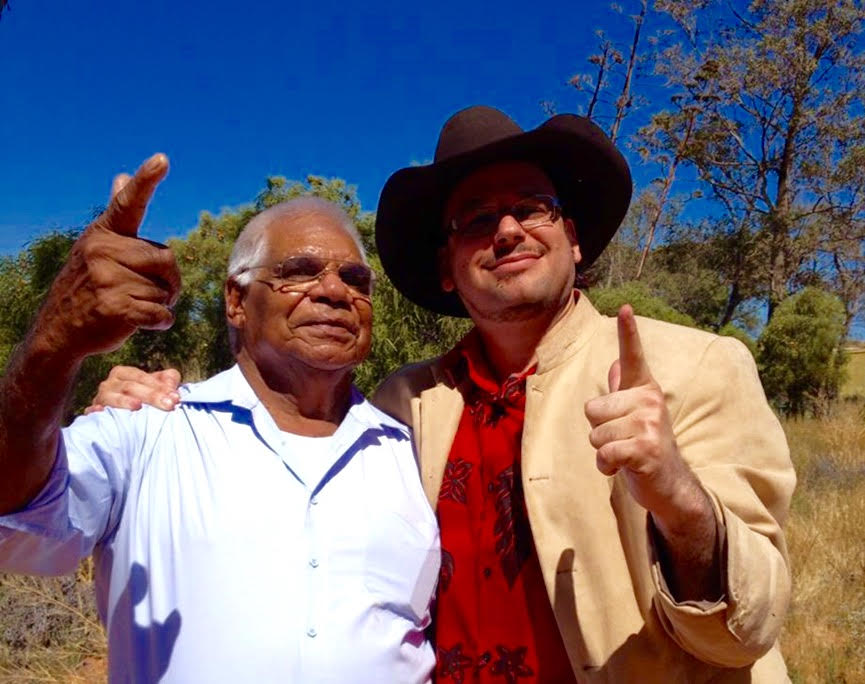 Professor Ghil'ad Zuckermann and Adnyamathanha man Robert Wilton, Port Augusta, Eyre Peninsula, Sout