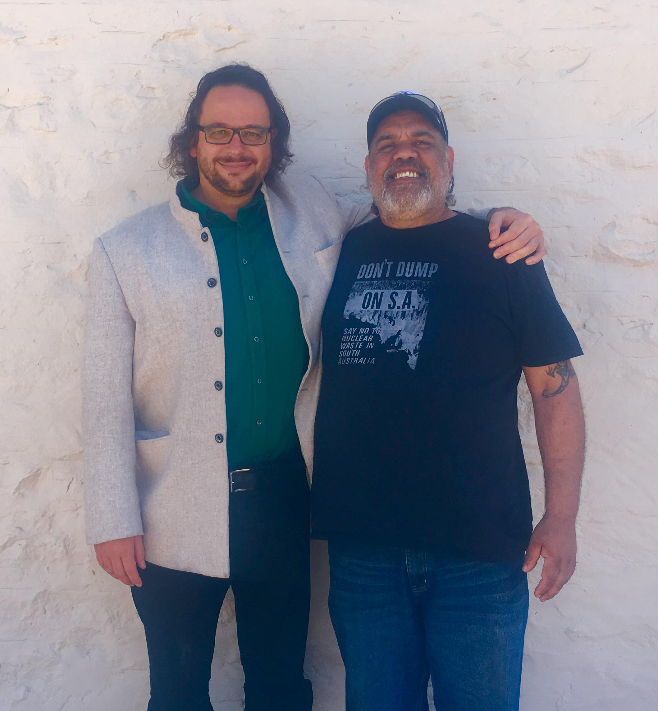 Professor Ghil'ad Zuckermann and Barngarla man Stephen Atkinson, South Australia