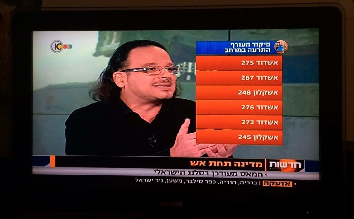 had a live TV interview about the Israeli language used by Hamas, 17 July 2014, Tel Aviv, Israel