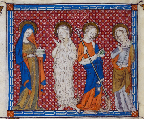 Mary Magdalene, Mary of Egypt, Margaret piercing a dragon, and a martyr holding a palm, from the Queen Mary Psalter, Royal MS 2 B VII, f. 308v
