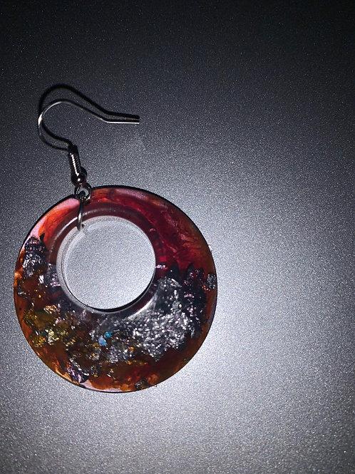 red, silver, neon earrings
