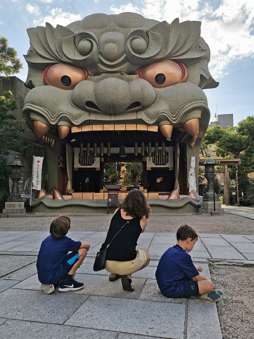 Visiting the Yasaka Shrine in Osaka is impressive. With the shape of a dragon or a lion the shrine truely comands worship. As with other shrines, even turists and families with kids, you can join in the worship as long as local customs are observed