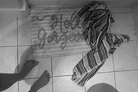 bathroom towel art, conceptual, photograph