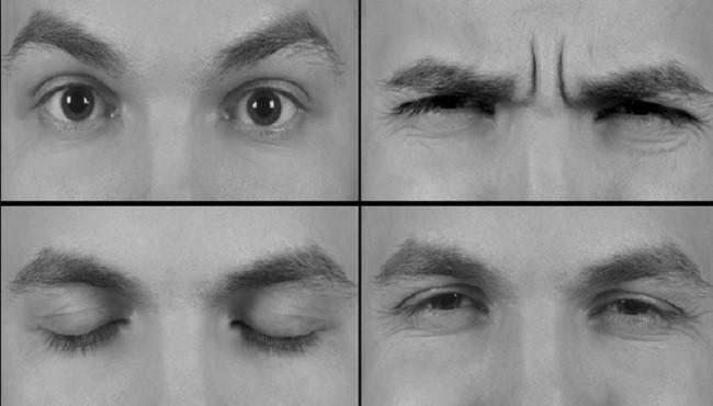 Photos d'un regard formant différentes mimiques