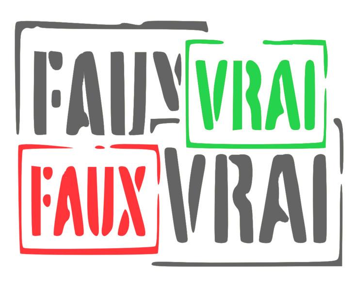 """image de quatre tampons """"vrai"""" et """"faux"""""""