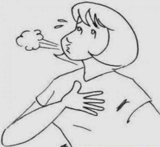 Dessin d'une femme qui souffle de soulagement