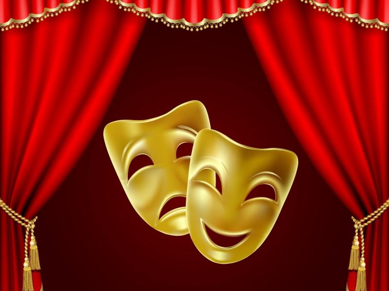 Image d'un rideau de théatre avec deux masques, un qui rit un qui pleure