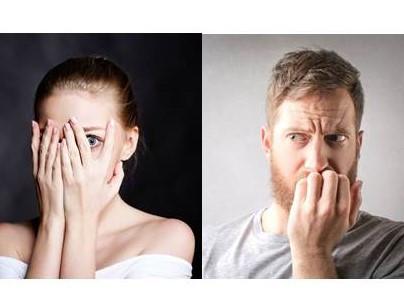 Photos d'une femme et d'un homme anxieux