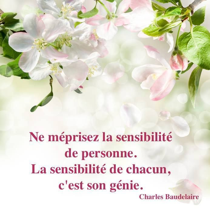 """proverbe illustré """"Ne méprisez la sensibilité de personne. La sensibilité de chacun, c'est son génie."""" Charles Baudelaire"""