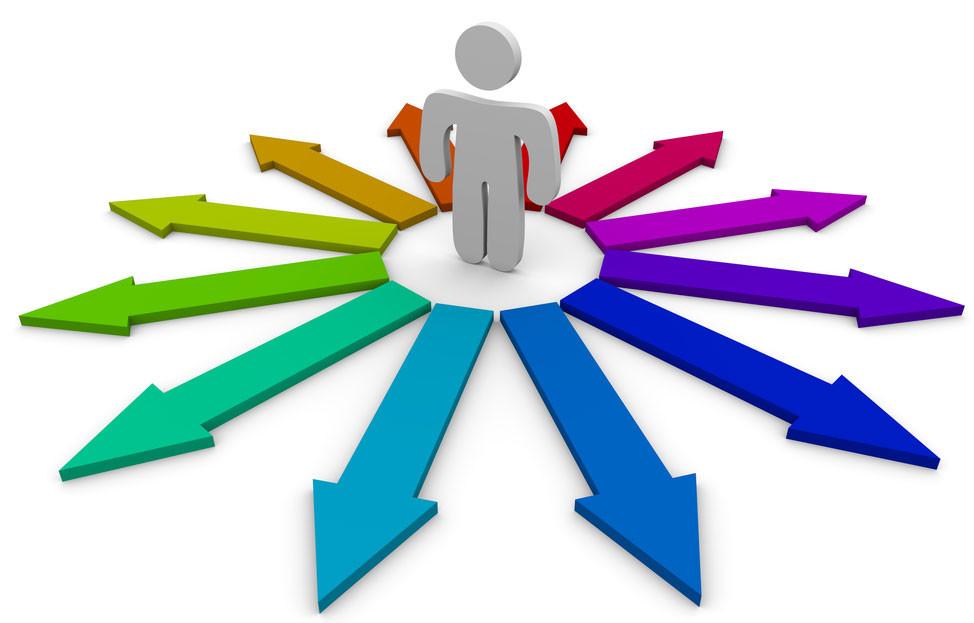 Image de personne au centre de plusieurs directions fléchées