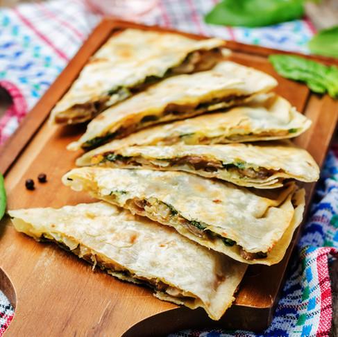 Baked Spinach and Mushroom Quesadillas
