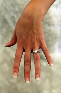 wedding ring hand showing off for photo booth