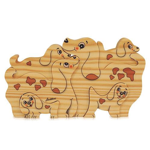 Houten puzzels Familie Hond