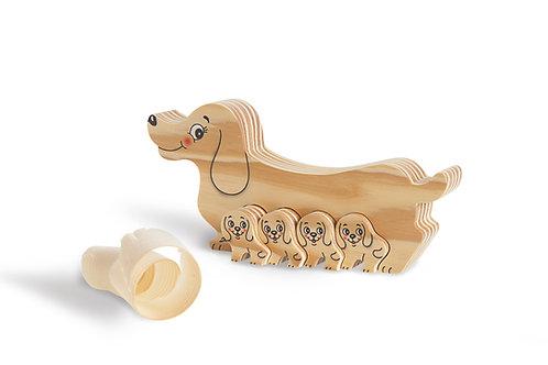 Houten puzzels Hond met puppies