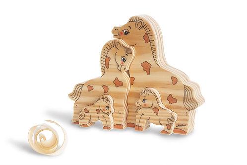 Houten puzzel Familie Paard